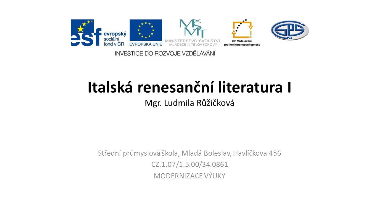 Italská renesanční literatura I Mgr.