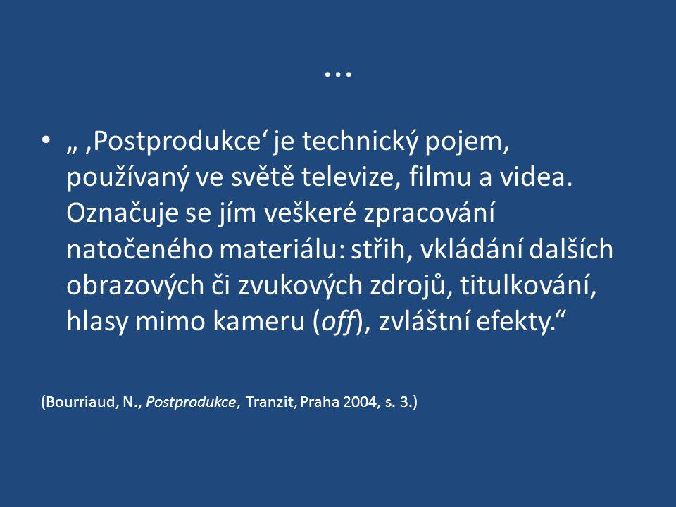 """..."""",Postprodukce' je technický pojem, používaný ve světě televize, filmu a videa."""
