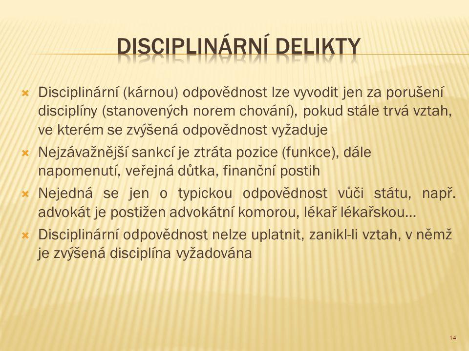  Disciplinární (kárnou) odpovědnost lze vyvodit jen za porušení disciplíny (stanovených norem chování), pokud stále trvá vztah, ve kterém se zvýšená