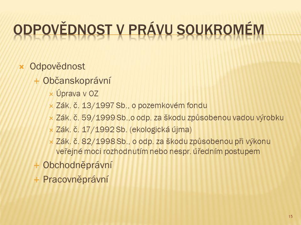  Odpovědnost  Občanskoprávní  Úprava v OZ  Zák. č. 13/1997 Sb., o pozemkovém fondu  Zák. č. 59/1999 Sb.,o odp. za škodu způsobenou vadou výrobku