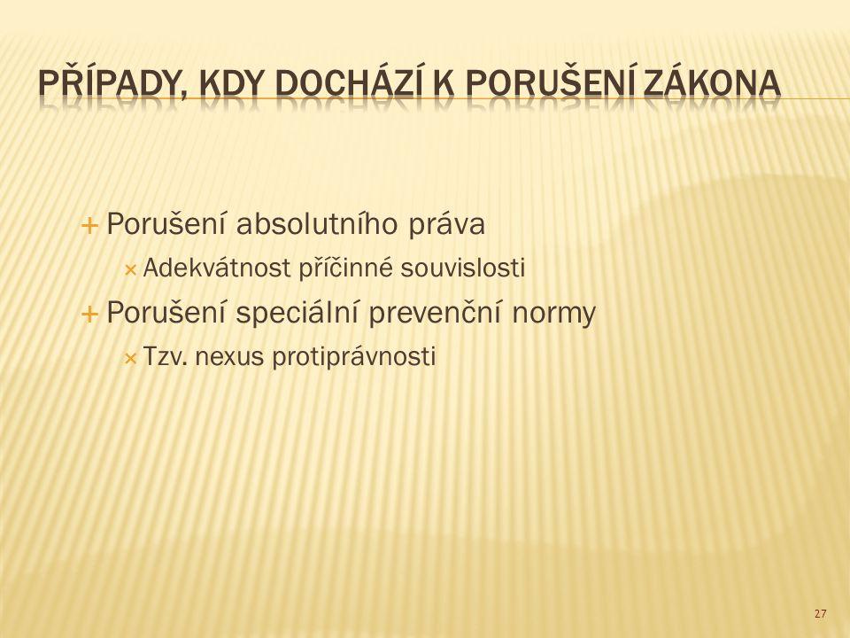  Porušení absolutního práva  Adekvátnost příčinné souvislosti  Porušení speciální prevenční normy  Tzv. nexus protiprávnosti 27