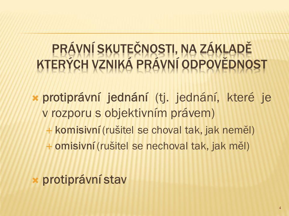  protiprávní jednání (tj. jednání, které je v rozporu s objektivním právem)  komisivní (rušitel se choval tak, jak neměl)  omisivní (rušitel se nec