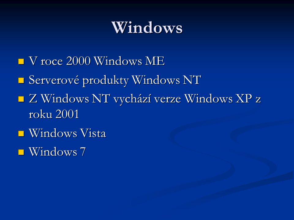 Windows V roce 2000 Windows ME V roce 2000 Windows ME Serverové produkty Windows NT Serverové produkty Windows NT Z Windows NT vychází verze Windows XP z roku 2001 Z Windows NT vychází verze Windows XP z roku 2001 Windows Vista Windows Vista Windows 7 Windows 7