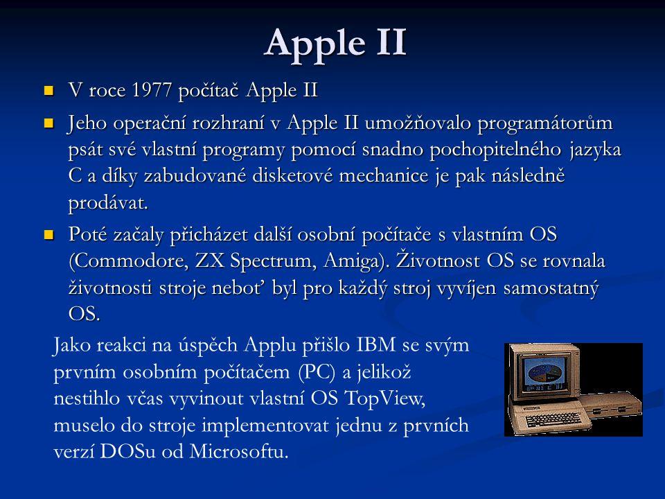 Apple II V roce 1977 počítač Apple II V roce 1977 počítač Apple II Jeho operační rozhraní v Apple II umožňovalo programátorům psát své vlastní programy pomocí snadno pochopitelného jazyka C a díky zabudované disketové mechanice je pak následně prodávat.