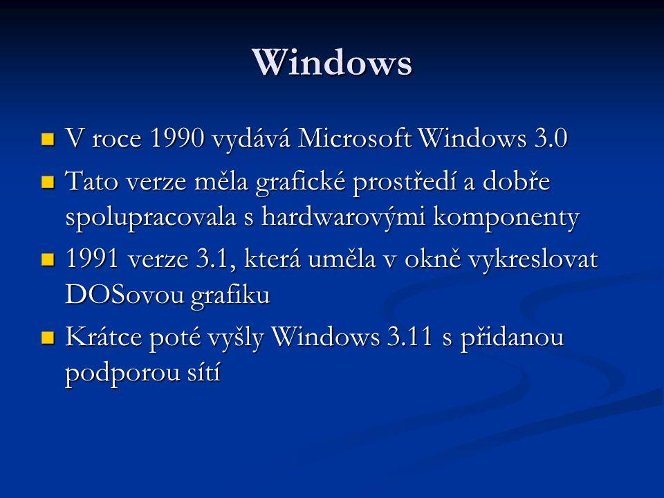 Windows V roce 1990 vydává Microsoft Windows 3.0 V roce 1990 vydává Microsoft Windows 3.0 Tato verze měla grafické prostředí a dobře spolupracovala s hardwarovými komponenty Tato verze měla grafické prostředí a dobře spolupracovala s hardwarovými komponenty 1991 verze 3.1, která uměla v okně vykreslovat DOSovou grafiku 1991 verze 3.1, která uměla v okně vykreslovat DOSovou grafiku Krátce poté vyšly Windows 3.11 s přidanou podporou sítí Krátce poté vyšly Windows 3.11 s přidanou podporou sítí