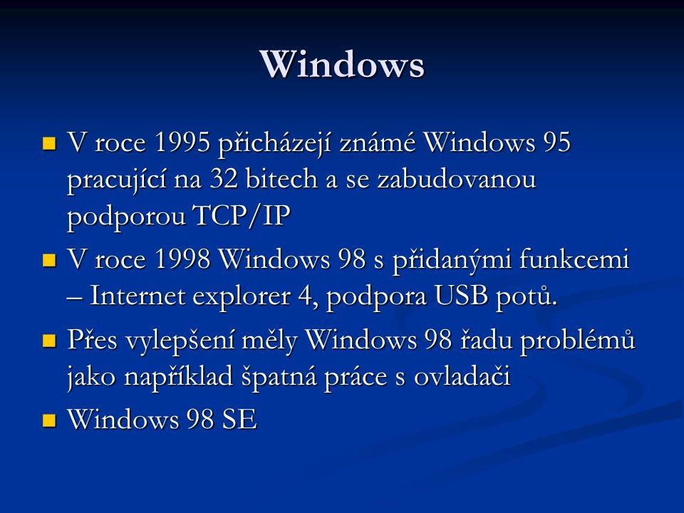 Windows V roce 1995 přicházejí známé Windows 95 pracující na 32 bitech a se zabudovanou podporou TCP/IP V roce 1995 přicházejí známé Windows 95 pracující na 32 bitech a se zabudovanou podporou TCP/IP V roce 1998 Windows 98 s přidanými funkcemi – Internet explorer 4, podpora USB potů.