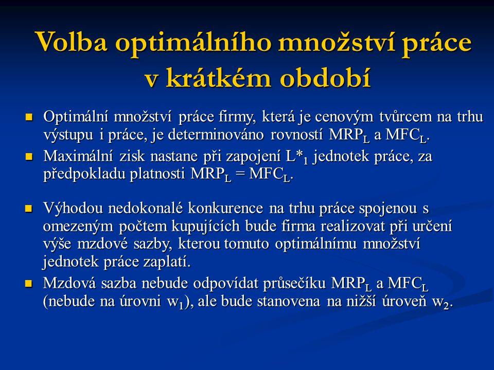 Volba optimálního množství práce v krátkém období v krátkém období Optimální množství práce firmy, která je cenovým tvůrcem na trhu výstupu i práce, je determinováno rovností MRP L a MFC L.