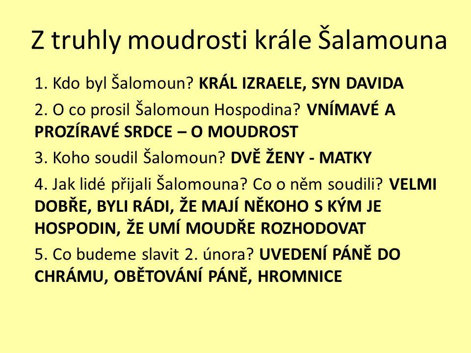 Z truhly moudrosti krále Šalamouna 1.Kdo byl Šalomoun.