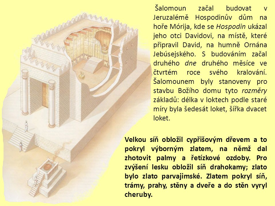 Šalomoun začal budovat v Jeruzalémě Hospodinův dům na hoře Mórija, kde se Hospodin ukázal jeho otci Davidovi, na místě, které připravil David, na humně Ornána Jebúsejského.