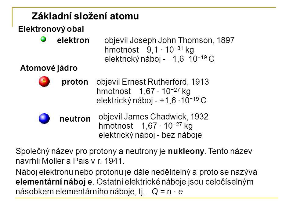 Chemicky je prvek určen protonovým číslem Z, které udává pořadí prvku v Mendělejevově periodické tabulce prvků.