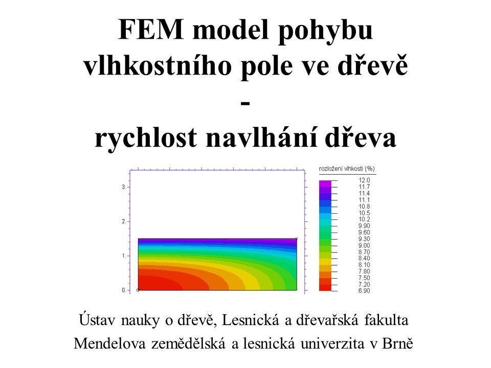 FEM model pohybu vlhkostního pole ve dřevě - rychlost navlhání dřeva Ústav nauky o dřevě, Lesnická a dřevařská fakulta Mendelova zemědělská a lesnická