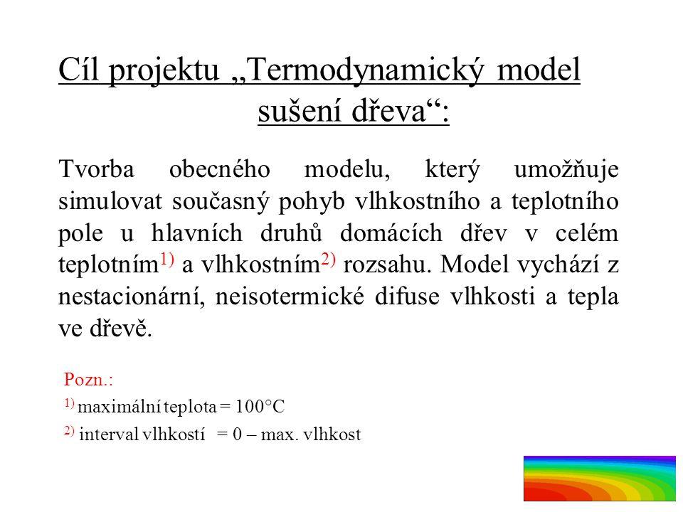 """Cíl projektu """"Termodynamický model sušení dřeva"""": Tvorba obecného modelu, který umožňuje simulovat současný pohyb vlhkostního a teplotního pole u hlav"""