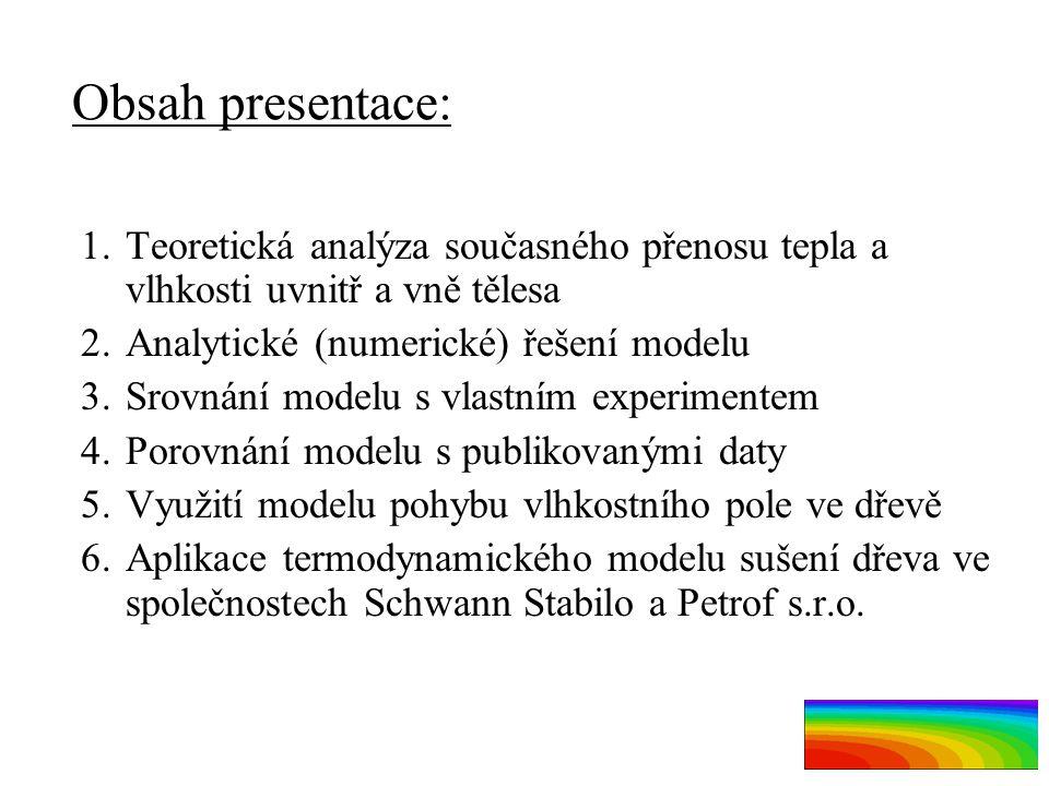 Obsah presentace: 1.Teoretická analýza současného přenosu tepla a vlhkosti uvnitř a vně tělesa 2.Analytické (numerické) řešení modelu 3.Srovnání model