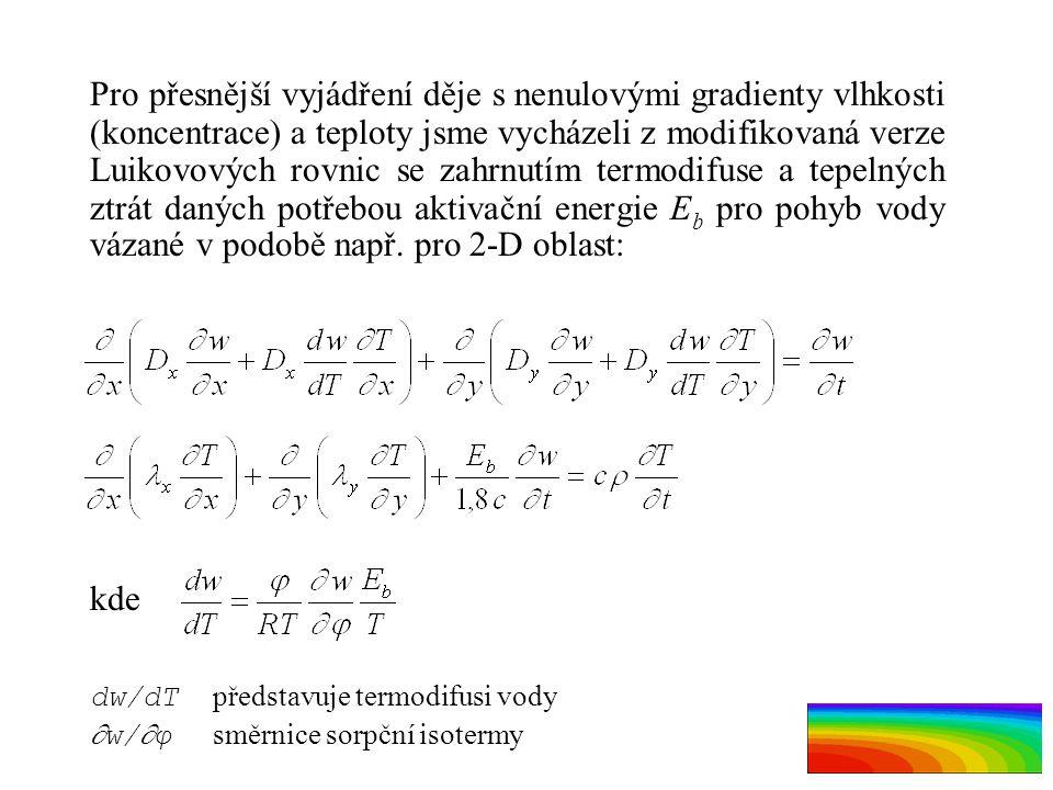 Pro přesnější vyjádření děje s nenulovými gradienty vlhkosti (koncentrace) a teploty jsme vycházeli z modifikovaná verze Luikovových rovnic se zahrnut