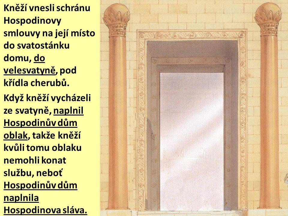Tehdy Šalomoun svolal k sobě do Jeruzaléma shromáždění izraelských starších, všechny představitele dvanácti pokolení a předáky izraelských rodů, aby vynesli schránu Hospodinovy smlouvy z Města Davidova, totiž ze Sijónu.