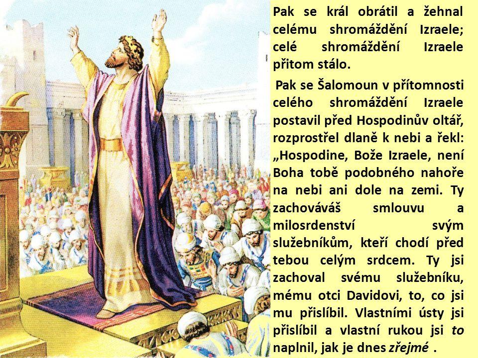 Kněží vnesli schránu Hospodinovy smlouvy na její místo do svatostánku domu, do velesvatyně, pod křídla cherubů.