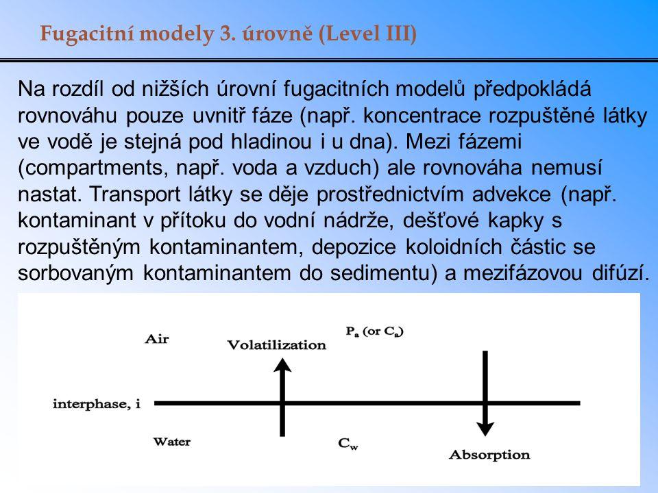 Příklad: transport mezi dvěma fázemi Nádoba (objem 2 m 3, plocha hladiny 4 m 2 ) obsahuje při 25°C roztok benzenu (K aw = 0.22) a naftalenu (K aw = 0.017), obojí při koncentraci 0.1 mol/m 3.