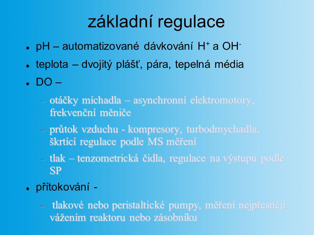 základní regulace pH – automatizované dávkování H + a OH - teplota – dvojitý plášť, pára, tepelná média DO –  otáčky míchadla – asynchronní elektromo