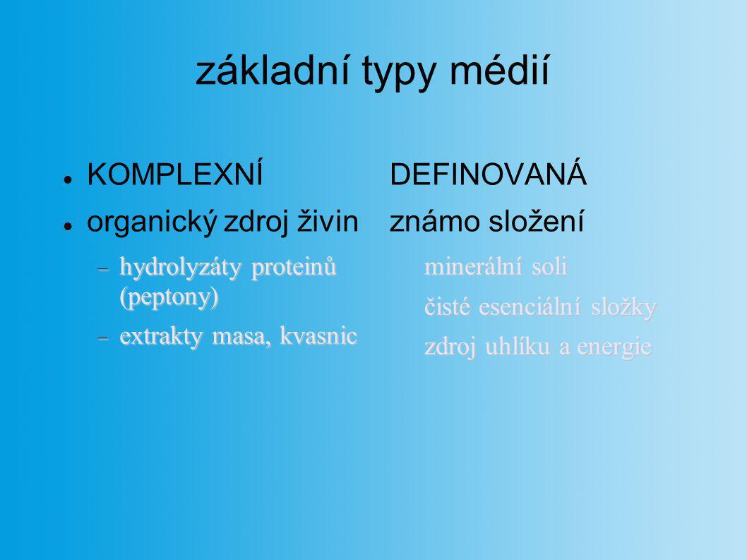 základní typy médií KOMPLEXNÍ organický zdroj živin  hydrolyzáty proteinů (peptony)  extrakty masa, kvasnic DEFINOVANÁ známo složení minerální soli