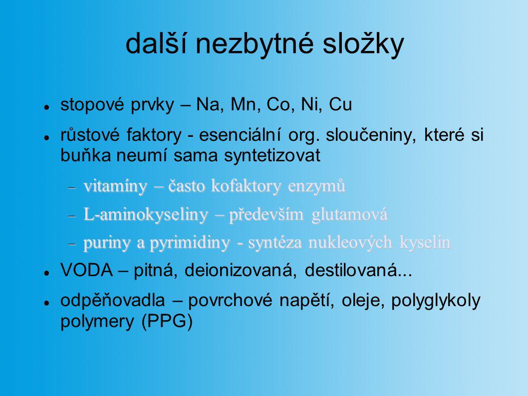 další nezbytné složky stopové prvky – Na, Mn, Co, Ni, Cu růstové faktory - esenciální org. sloučeniny, které si buňka neumí sama syntetizovat  vitamí