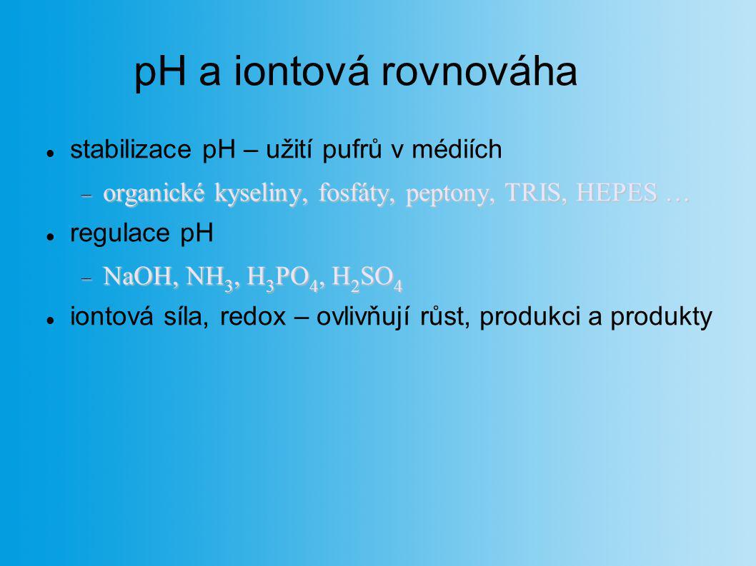 pH a iontová rovnováha stabilizace pH – užití pufrů v médiích  organické kyseliny, fosfáty, peptony, TRIS, HEPES … regulace pH  NaOH, NH 3, H 3 PO 4