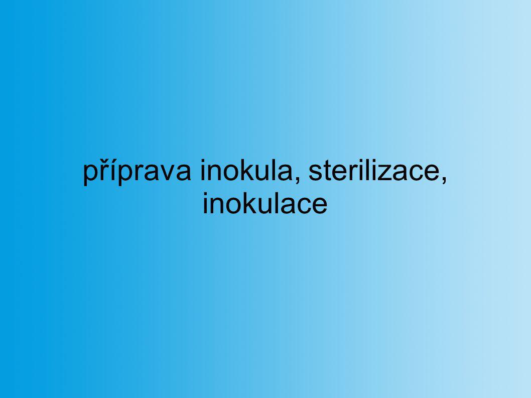 příprava inokula, sterilizace, inokulace