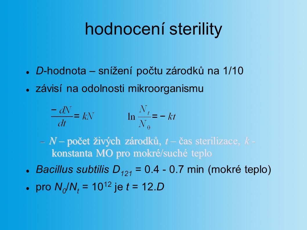 hodnocení sterility D-hodnota – snížení počtu zárodků na 1/10 závisí na odolnosti mikroorganismu  N – počet živých zárodků, t – čas sterilizace, k -