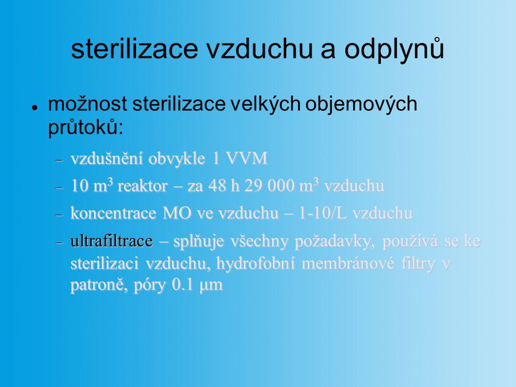 sterilizace vzduchu a odplynů možnost sterilizace velkých objemových průtoků:  vzdušnění obvykle 1 VVM  10 m 3 reaktor – za 48 h 29 000 m 3 vzduchu