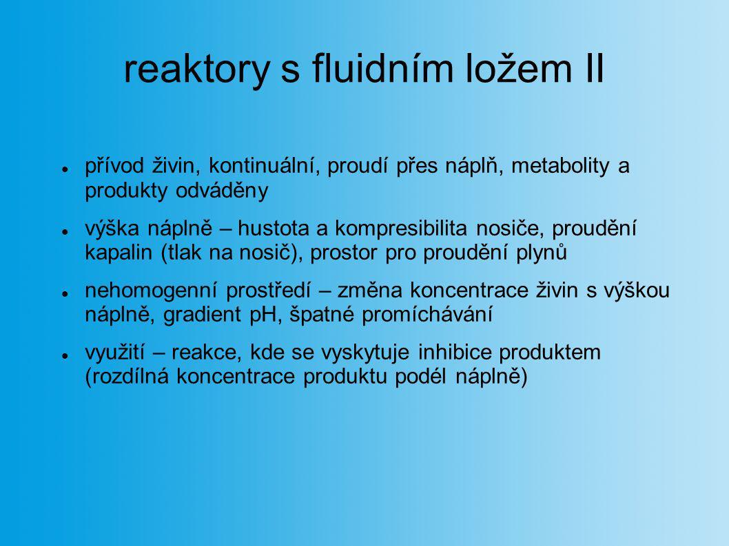reaktory s fluidním ložem II přívod živin, kontinuální, proudí přes náplň, metabolity a produkty odváděny výška náplně – hustota a kompresibilita nosi