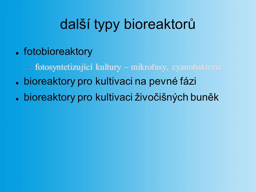 další typy bioreaktorů fotobioreaktory  fotosyntetizující kultury – mikrořasy, cyanobakterie bioreaktory pro kultivaci na pevné fázi bioreaktory pro