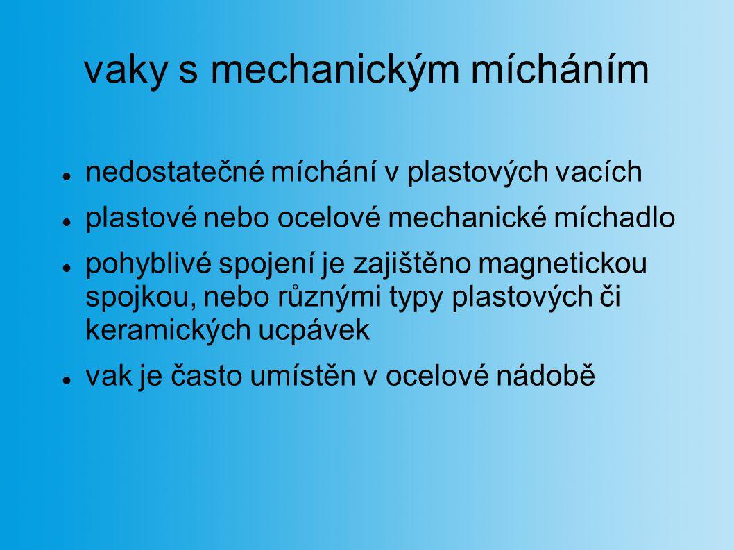 vaky s mechanickým mícháním nedostatečné míchání v plastových vacích plastové nebo ocelové mechanické míchadlo pohyblivé spojení je zajištěno magnetic