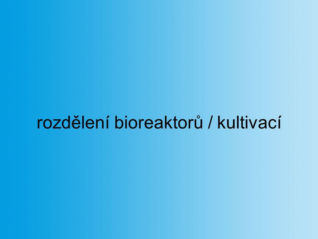 rozdělení bioreaktorů / kultivací