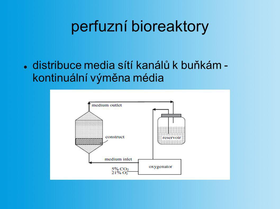 perfuzní bioreaktory distribuce media sítí kanálů k buňkám - kontinuální výměna média