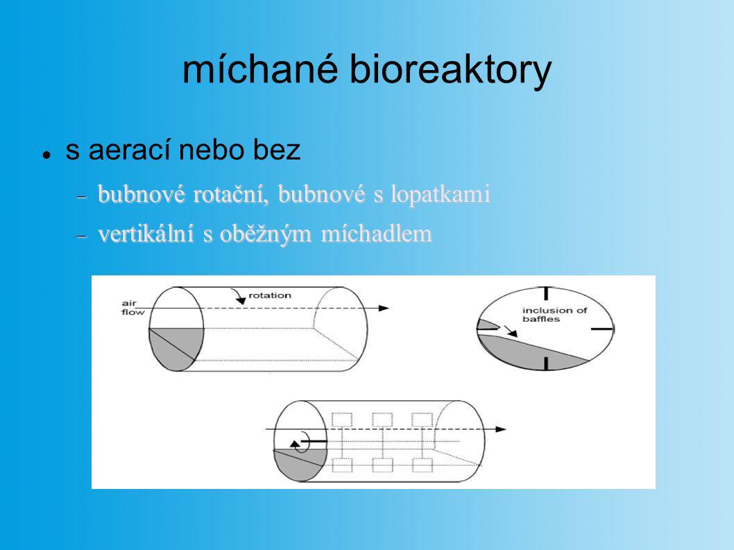 míchané bioreaktory s aerací nebo bez  bubnové rotační, bubnové s lopatkami  vertikální s oběžným míchadlem