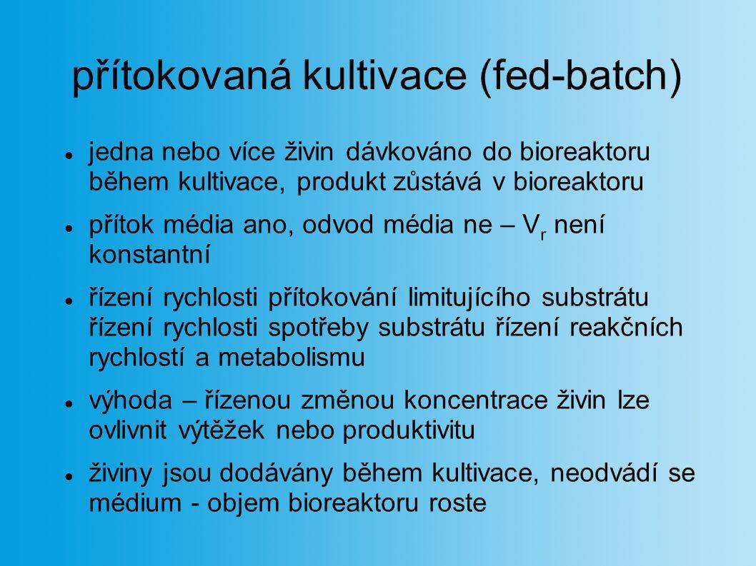 přítokovaná kultivace (fed-batch) jedna nebo více živin dávkováno do bioreaktoru během kultivace, produkt zůstává v bioreaktoru přítok média ano, odvo