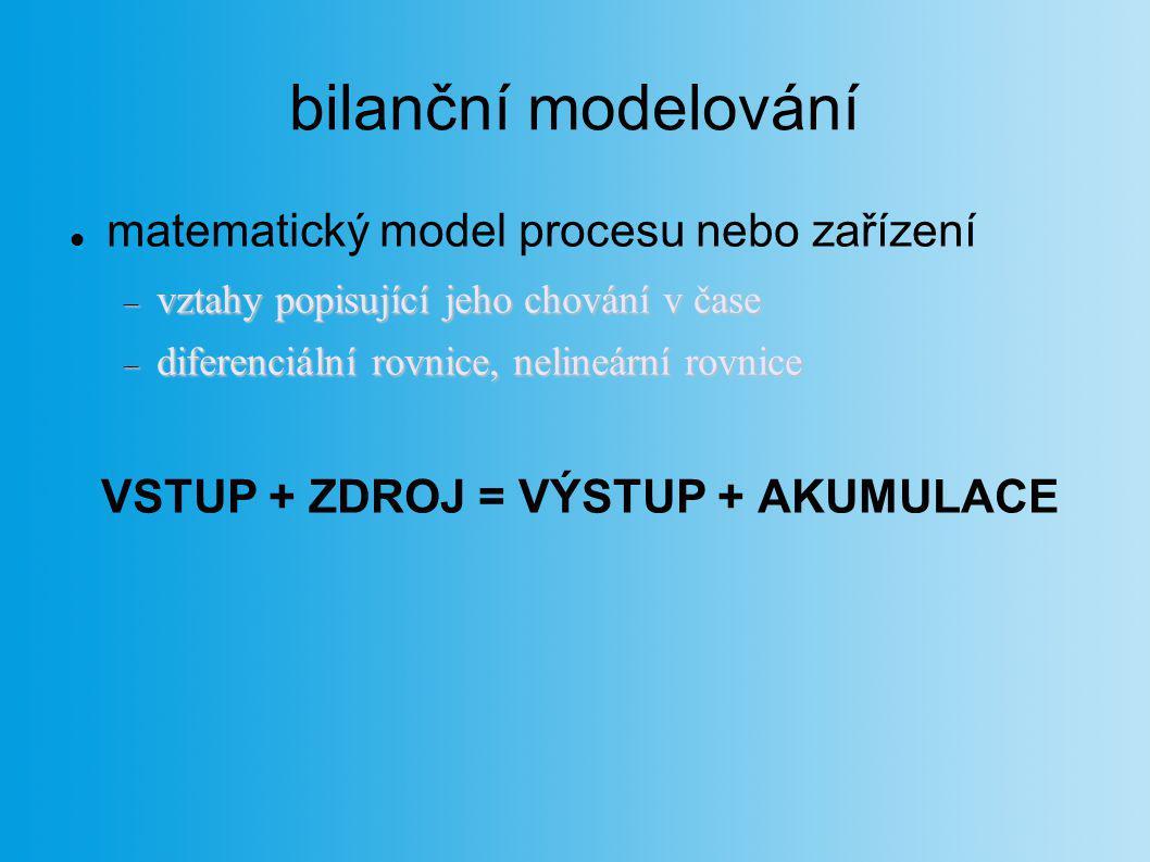 bilanční modelování matematický model procesu nebo zařízení  vztahy popisující jeho chování v čase  diferenciální rovnice, nelineární rovnice VSTUP
