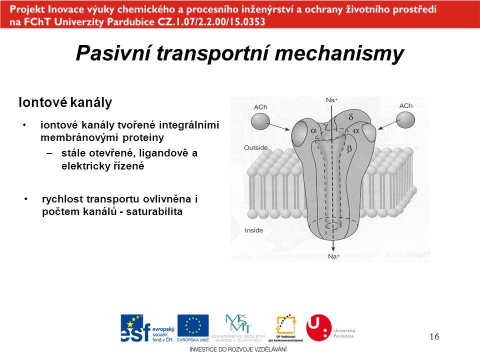 16 iontové kanály tvořené integrálními membránovými proteiny –stále otevřené, ligandově a elektricky řízené Iontové kanály rychlost transportu ovlivně