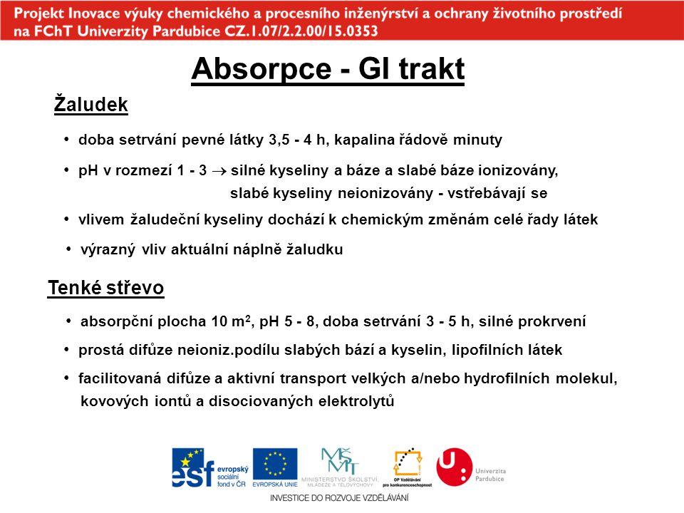 Absorpce - GI trakt Žaludek doba setrvání pevné látky 3,5 - 4 h, kapalina řádově minuty pH v rozmezí 1 - 3  silné kyseliny a báze a slabé báze ionizo