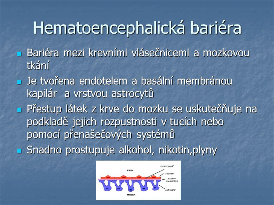 Hematoencephalická bariéra Bariéra mezi krevními vlásečnicemi a mozkovou tkání Bariéra mezi krevními vlásečnicemi a mozkovou tkání Je tvořena endotelem a basální membránou kapilár a vrstvou astrocytů Je tvořena endotelem a basální membránou kapilár a vrstvou astrocytů Přestup látek z krve do mozku se uskutečňuje na podkladě jejich rozpustnosti v tucích nebo pomocí přenašečových systémů Přestup látek z krve do mozku se uskutečňuje na podkladě jejich rozpustnosti v tucích nebo pomocí přenašečových systémů Snadno prostupuje alkohol, nikotin,plyny Snadno prostupuje alkohol, nikotin,plyny