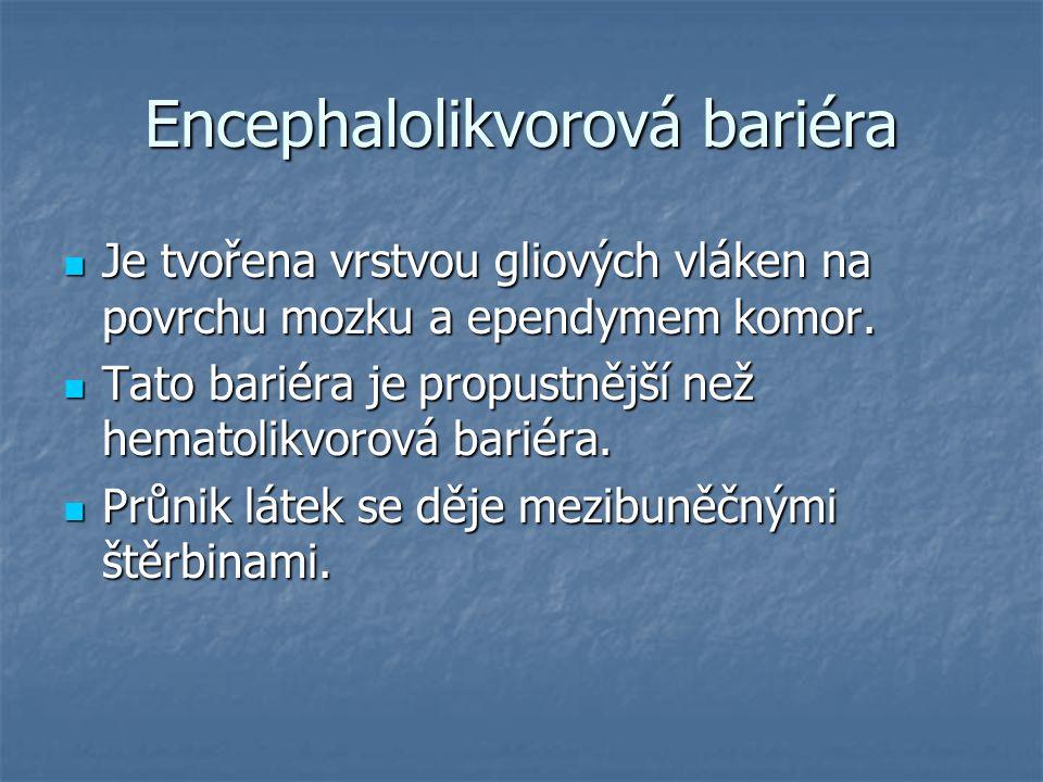 Encephalolikvorová bariéra Je tvořena vrstvou gliových vláken na povrchu mozku a ependymem komor. Je tvořena vrstvou gliových vláken na povrchu mozku