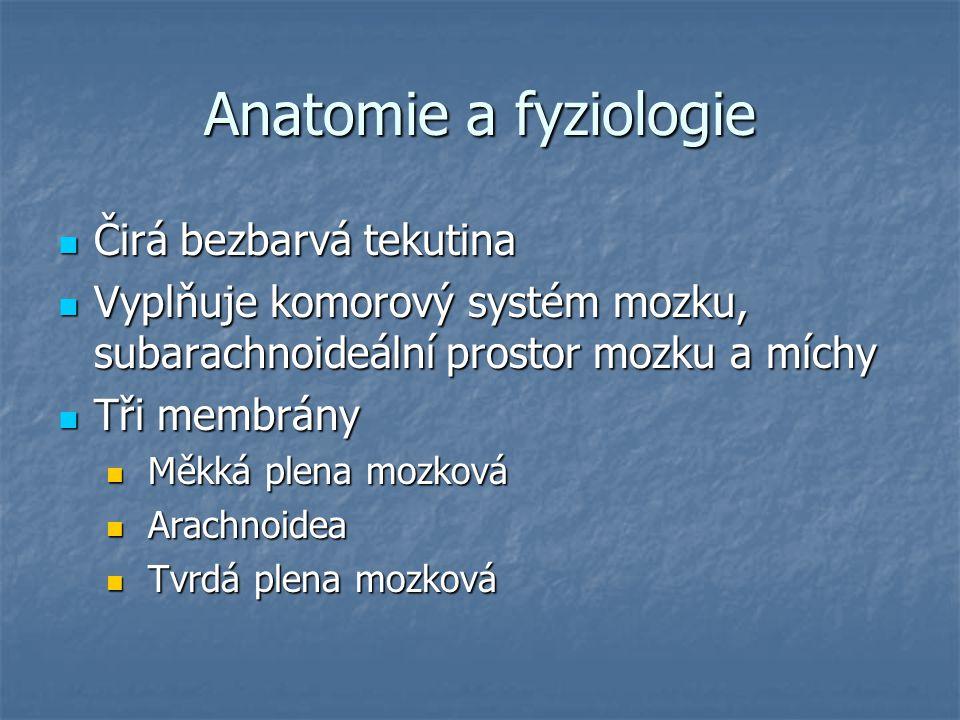 Anatomie a fyziologie Čirá bezbarvá tekutina Čirá bezbarvá tekutina Vyplňuje komorový systém mozku, subarachnoideální prostor mozku a míchy Vyplňuje k