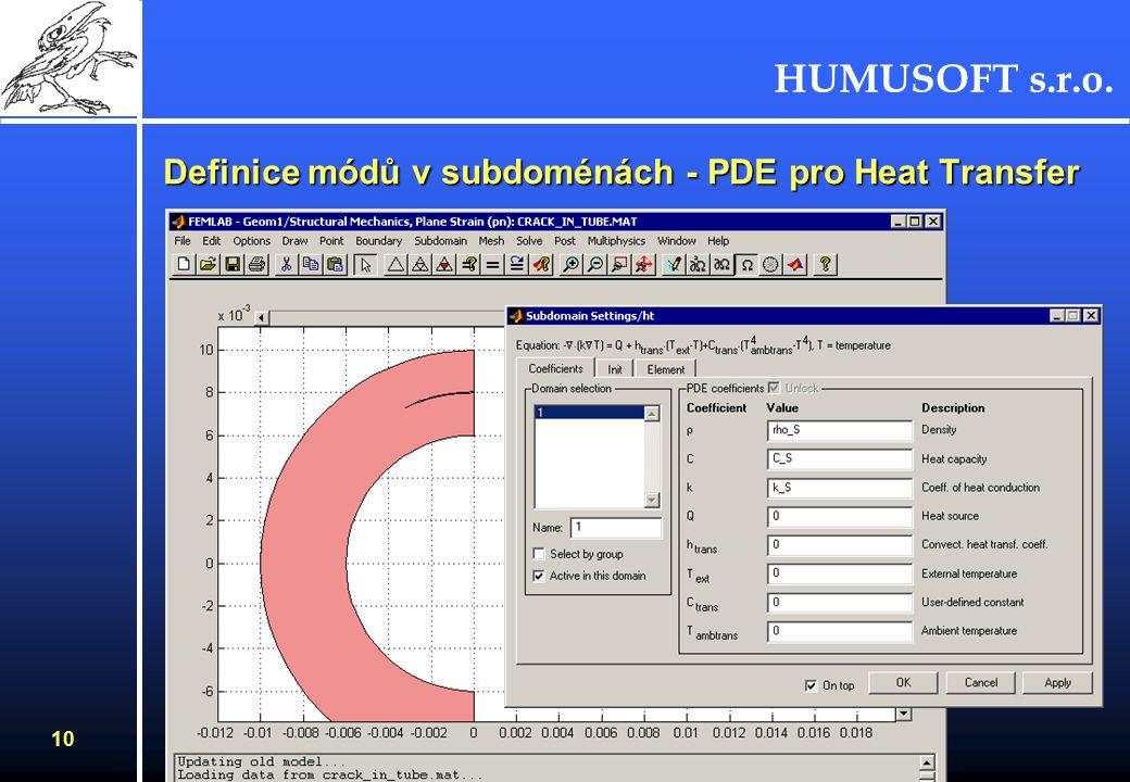 HUMUSOFT s.r.o. 9 Definice módů v subdoménách - PDE pro Plane Strain
