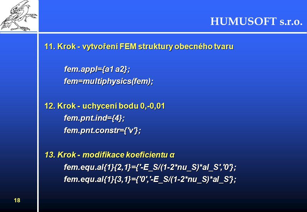 HUMUSOFT s.r.o. 17 8. Krok - nastavení počáteční teploty a1.equ.init= Tout ; 9.