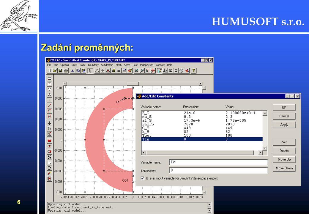 HUMUSOFT s.r.o. 5 Definice geometrie - grafický editor :