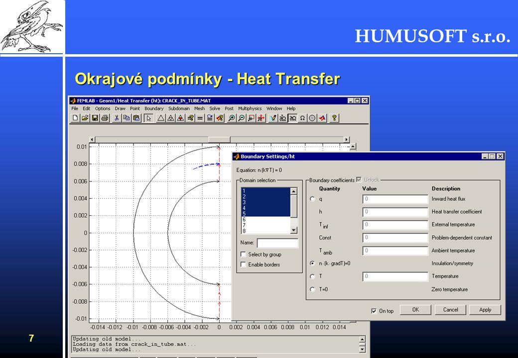 HUMUSOFT s.r.o. 7 Okrajové podmínky - Heat Transfer