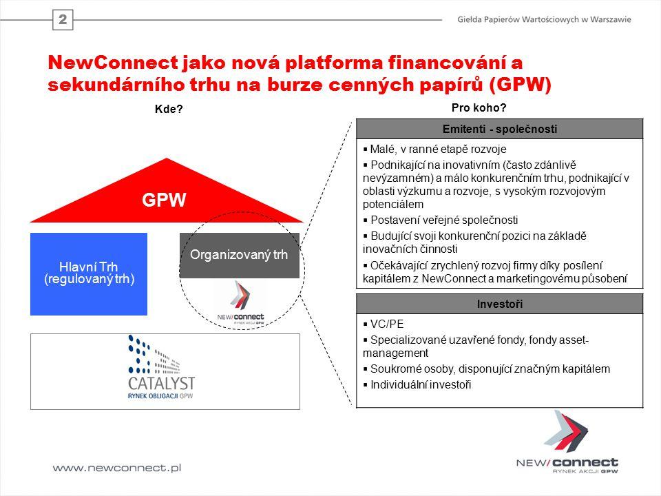 2 NewConnect jako nová platforma financování a sekundárního trhu na burze cenných papírů (GPW) Hlavní Trh (regulovaný trh) Organizovaný trh GPW Emitenti - společnosti  Malé, v ranné etapě rozvoje  Podnikající na inovativním (často zdánlivě nevýzamném) a málo konkurenčním trhu, podnikající v oblasti výzkumu a rozvoje, s vysokým rozvojovým potenciálem  Postavení veřejné společnosti  Budující svoji konkurenční pozici na základě inovačních činnosti  Očekávající zrychlený rozvoj firmy díky posílení kapitálem z NewConnect a marketingovému působení Investoři  VC/PE  Specializované uzavřené fondy, fondy asset- management  Soukromé osoby, disponující značným kapitálem  Individuální investoři Kde.
