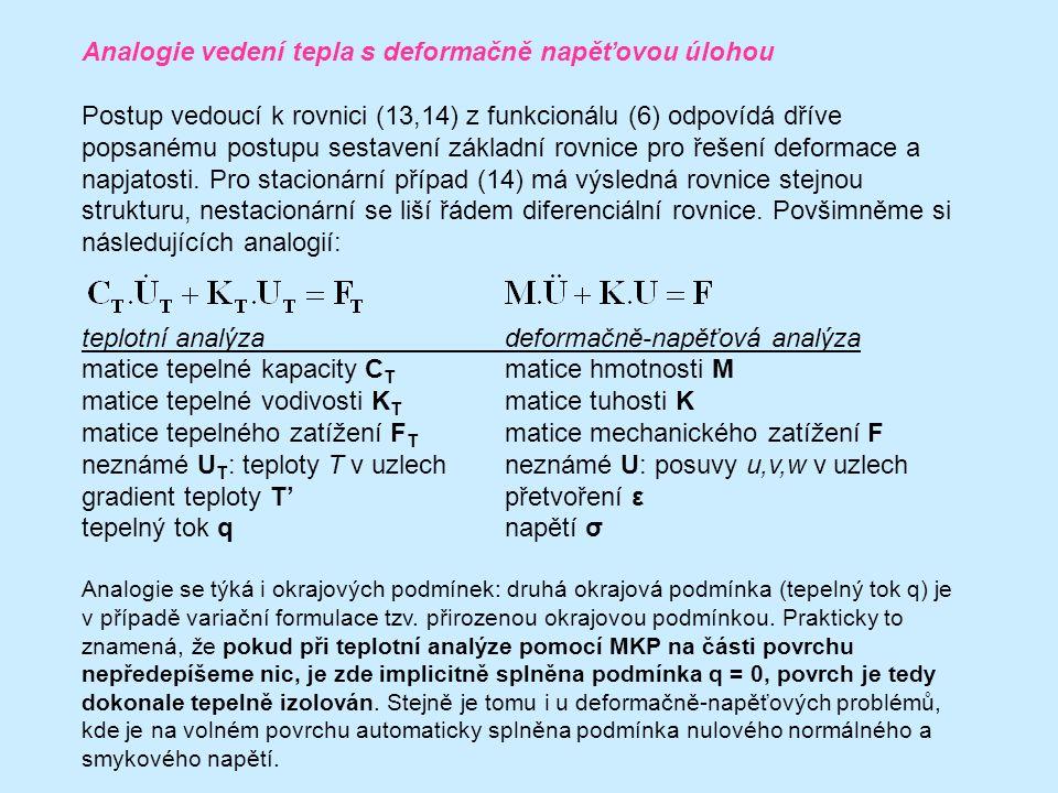 Analogie vedení tepla s deformačně napěťovou úlohou Postup vedoucí k rovnici (13,14) z funkcionálu (6) odpovídá dříve popsanému postupu sestavení základní rovnice pro řešení deformace a napjatosti.
