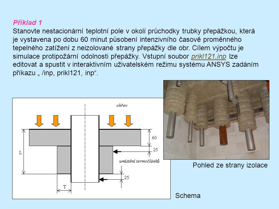 Příklad 1 Stanovte nestacionární teplotní pole v okolí průchodky trubky přepážkou, která je vystavena po dobu 60 minut působení intenzivního časově proměnného tepelného zatížení z neizolované strany přepážky dle obr.