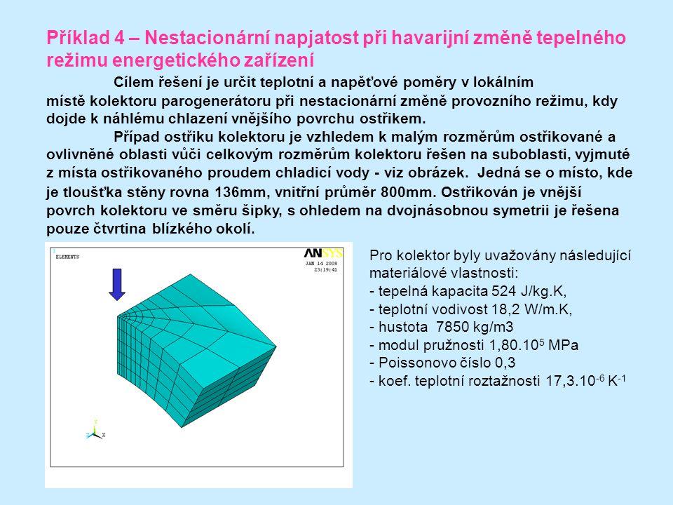 Příklad 4 – Nestacionární napjatost při havarijní změně tepelného režimu energetického zařízení Cílem řešení je určit teplotní a napěťové poměry v lokálním místě kolektoru parogenerátoru při nestacionární změně provozního režimu, kdy dojde k náhlému chlazení vnějšího povrchu ostřikem.