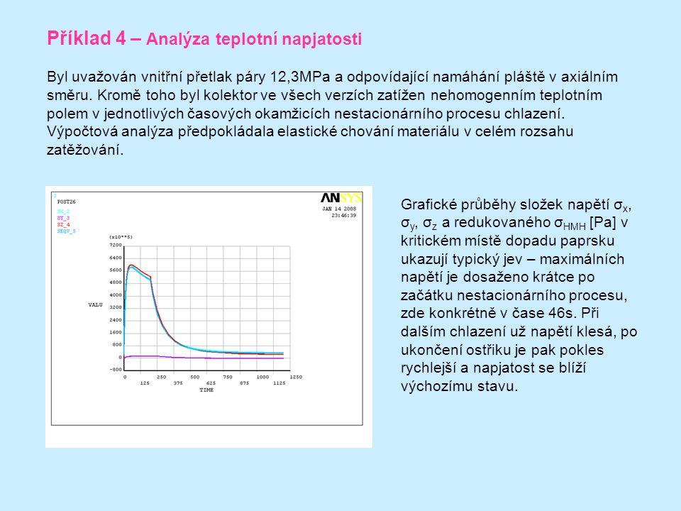Příklad 4 – Analýza teplotní napjatosti Byl uvažován vnitřní přetlak páry 12,3MPa a odpovídající namáhání pláště v axiálním směru.